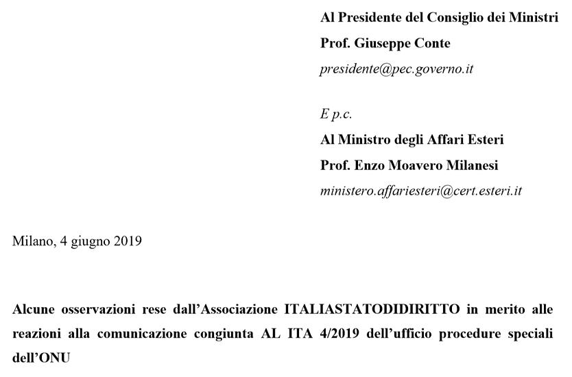 La lettera di ItaliaStatoDiDiritto al premier Conte in difesa dell'Onu